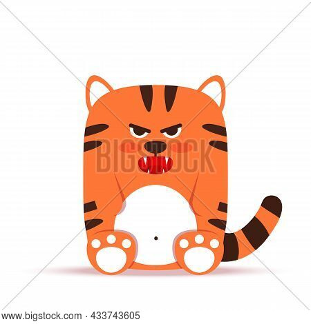 Cute Little Orange Tiger Cat In A Flat Style. The Animal Sits Angry Gloomy And Growls. The Symbol Of