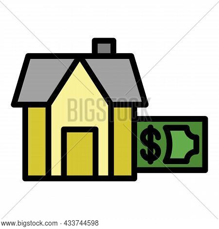 Payment Of Mortgage Housing Icon. Outline Payment Of Mortgage Housing Vector Icon Color Flat Isolate