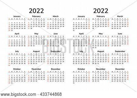 Vertical Calendar 2022. Happy New Year. Vector Template. Wall A4 Pocket Desk Table Calendar. Week St