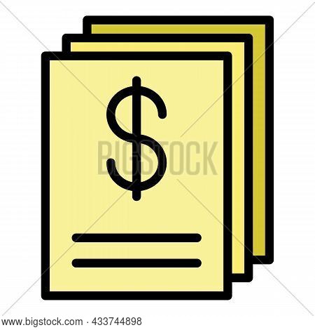 Mortgage Settlement Documents Icon. Outline Mortgage Settlement Documents Vector Icon Color Flat Iso