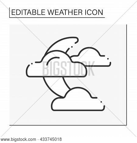 Night Line Icon. Moon Covered By Clouds. Poor Visibility. Partly Cloudy.weather Concept. Isolated Ve