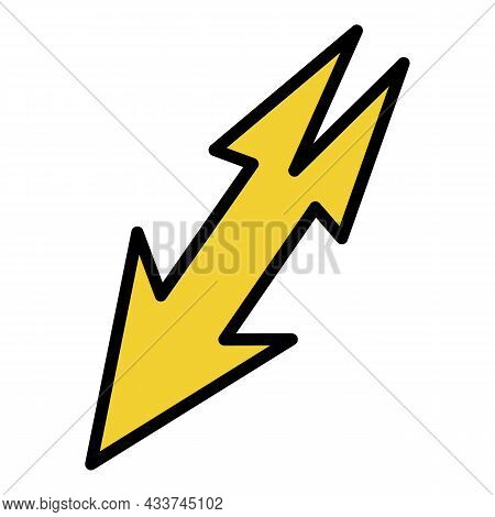 Lightning With Two Tails Icon. Outline Lightning With Two Tails Vector Icon Color Flat Isolated