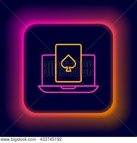 Glowing Neon Line Online Poker Table Game Icon Isolated On Black Background. Online Casino. Colorful