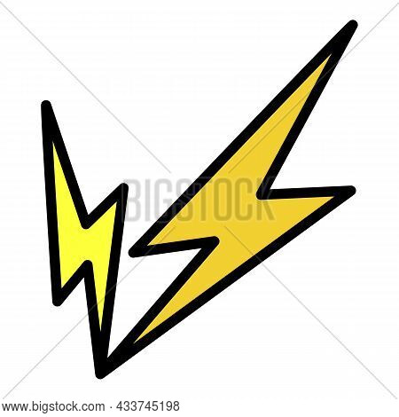 Double Lightning Icon. Outline Double Lightning Vector Icon Color Flat Isolated