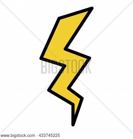 Vertical Lightning Icon. Outline Vertical Lightning Vector Icon Color Flat Isolated