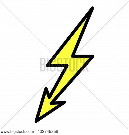 High Voltage Danger Icon. Outline High Voltage Danger Vector Icon Color Flat Isolated