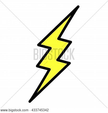 Lightning Zigzag Icon. Outline Lightning Zigzag Vector Icon Color Flat Isolated