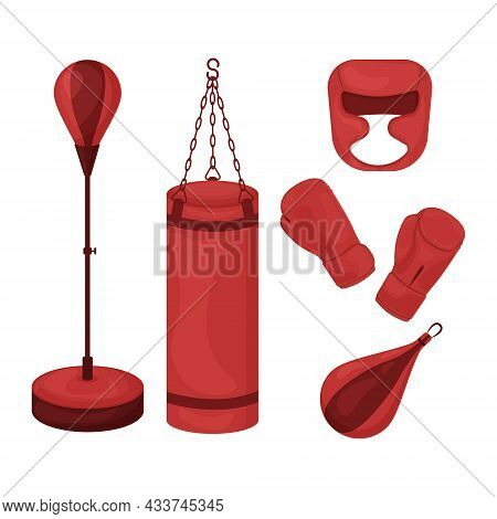 A Boxing Set Consisting Of A Punching Bag, Gloves For Martial Arts And A Protective Helmet For Boxin