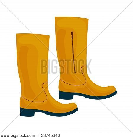 Fashionable Classic High Boots In Yellow Color. Autumn Shoes. High-heeled Boots. Vector Illustration