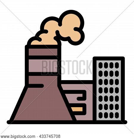 Coal Power Plant Icon. Outline Coal Power Plant Vector Icon Color Flat Isolated