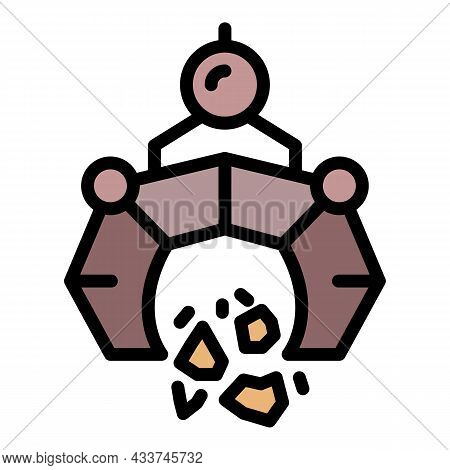 Excavator Tool Icon. Outline Excavator Tool Vector Icon Color Flat Isolated
