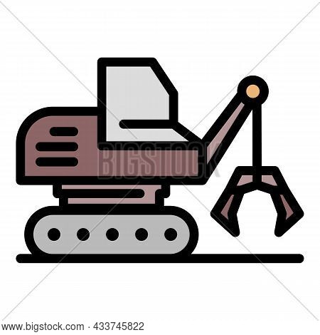 Mining Excavator Icon. Outline Mining Excavator Vector Icon Color Flat Isolated