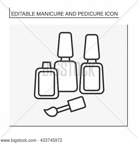 Vanishes For Manicure Line Icon. Cosmetic Lacquers. Spa Procedure. Manicure And Pedicure Concept. Is