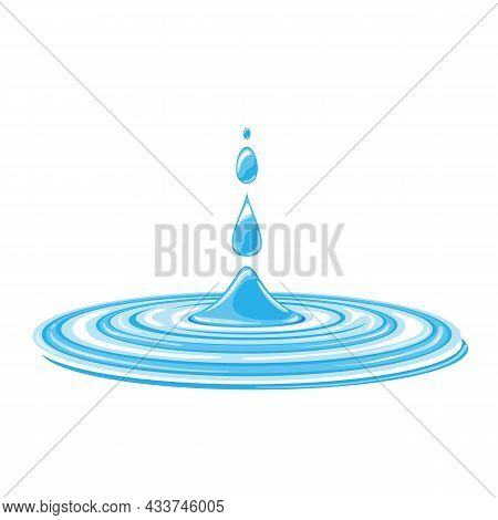 Water Drops. Current Drops, Spray, Waves And Splashes. Aqua Drop Element, Dripping Liquid Or Raindro