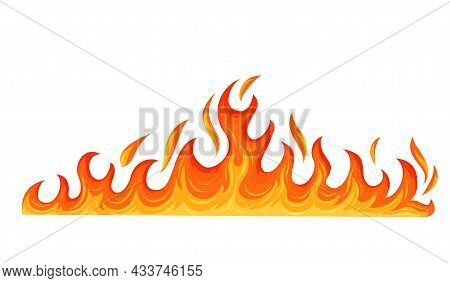 Fire Flame. Hot Flaming Element. Bonfire And Fiery Border Decorative Element. Red And Orange Blaze V