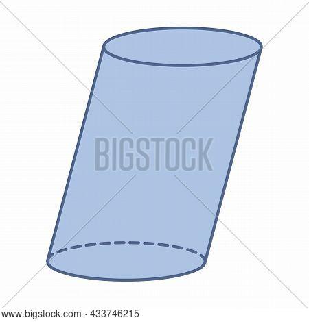 Oblique Cylinder Geometric Shape Isolated On White Background