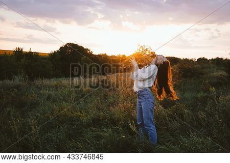 National Relaxation Day, Relaxation Practices, Mental Health, Slow Living Concept. Young Girl With L