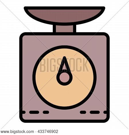 Kitchen Scales Icon. Outline Kitchen Scales Vector Icon Color Flat Isolated