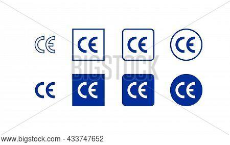 Euro Mark Ce Set Icon. European Certificate. Vector Flat