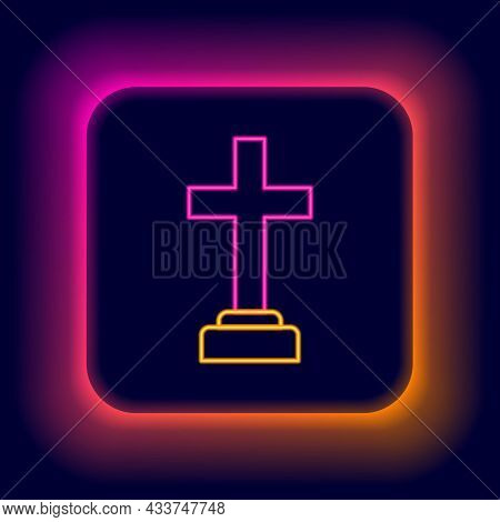 Glowing Neon Line Man Graves Funeral Sorrow Icon Isolated On Black Background. The Emotion Of Grief,