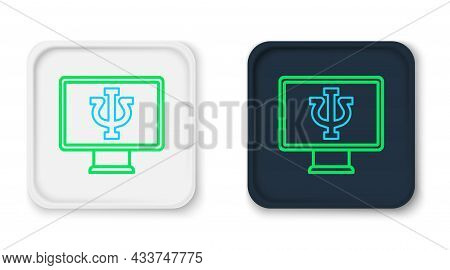 Line Online Psychological Counseling Distance Icon Isolated On White Background. Psychotherapy, Psyc