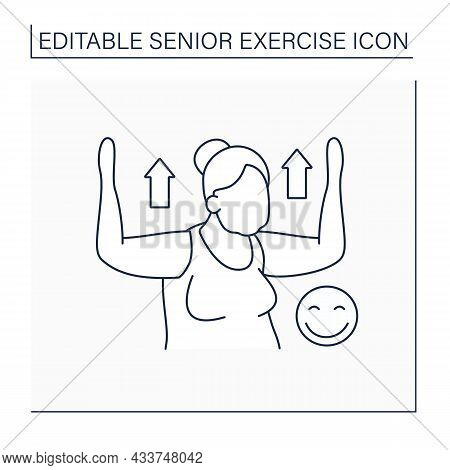 Training Line Icon. Physical Exercises Provide A Good Mood. Healthy Lifestyle. Strong Old Woman. Sen