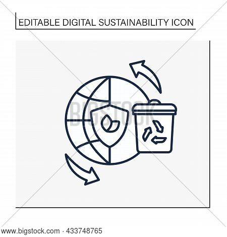 Global Recycling Line Icon. Reducing Earth Natural Resources. Waste Utilization. Protect The Environ