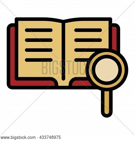 Book Magnify Glass Icon. Outline Book Magnify Glass Vector Icon Color Flat Isolated