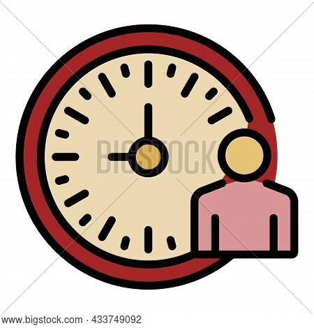 Lecture Time Clock Icon. Outline Lecture Time Clock Vector Icon Color Flat Isolated