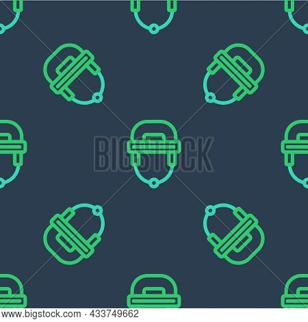 Line Hockey Helmet Icon Isolated Seamless Pattern On Blue Background. Vector