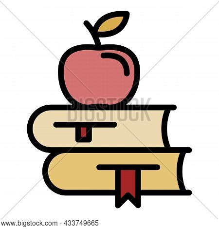 Apple On Books Icon. Outline Apple On Books Vector Icon Color Flat Isolated