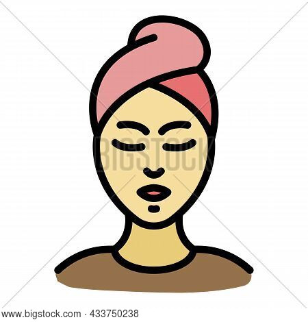Woman Spa Procedure Icon. Outline Woman Spa Procedure Vector Icon Color Flat Isolated