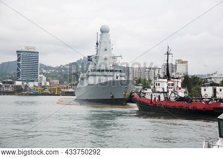 Batumi, Georgia - June 27, 2021, British Navy Destroyer Hms Defender Is Moored In The Georgian Port