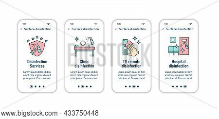 Surface Disinfection Onboarding Mobile App Screens.disinfection At Home, Workplace, Public Spaces, T