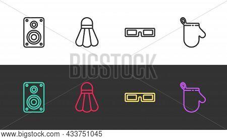 Set Line Stereo Speaker, Badminton Shuttlecock, Cinema Glasses And Oven Glove On Black And White. Ve