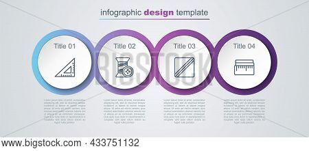 Set Line Triangular Ruler, Sewing Thread And Button, Pattern And Tape Measure. Business Infographic