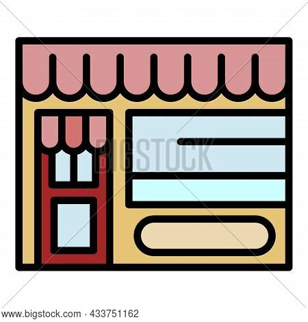 Local Business Shop Icon. Outline Local Business Shop Vector Icon Color Flat Isolated
