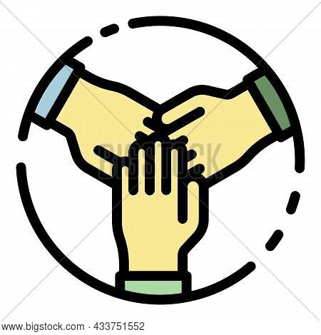 Teamwork Icon. Outline Teamwork Vector Icon Color Flat Isolated