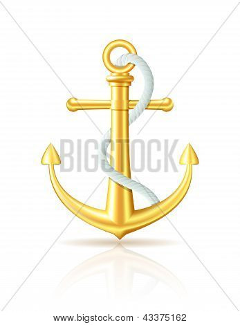 Gold anchor with rope on white background.