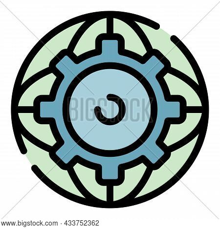 Gear Global Education Icon. Outline Gear Global Education Vector Icon Color Flat Isolated