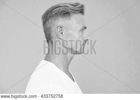Portrait Of Mature Man. Well Groomed Guy In Profile View. Handsome Male Has Perfect Skin On His Face