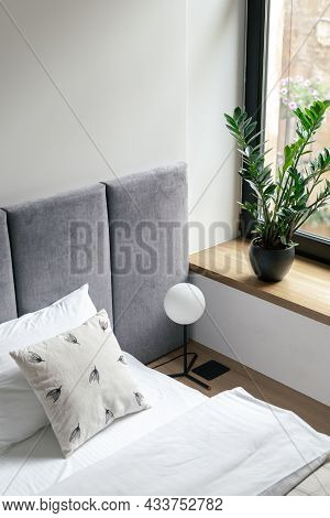 Bedroom Interior, Closeup At Bed Near Room Window. Comfortable Home Design With Pillows, Minimalisti