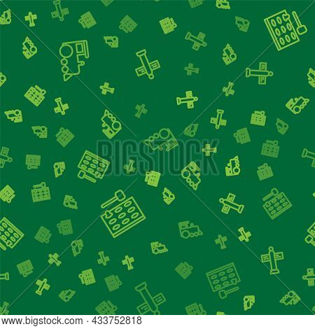 Set Line Toy Train, Arcade Game Machine And Road Traffic Signpost On Seamless Pattern. Vector