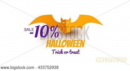 10 Percent Sale Offer Halloween Background With Yellow Paper Bat. Trick Or Treat Lettering. Vector I