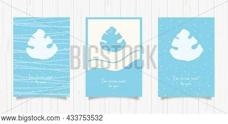 Set Of Blue Winter Greeting Card With Fir Tree. Vector New Year Illustration Design Template. Hand D