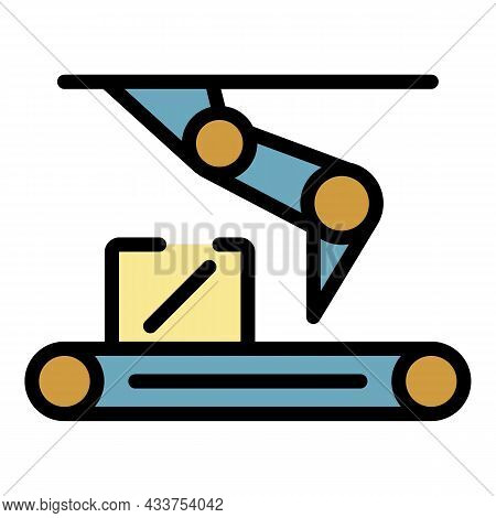 Assembly Line Icon. Outline Assembly Line Vector Icon Color Flat Isolated