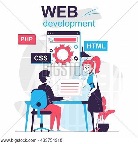 Web Development Isolated Cartoon Concept. Developers Customize And Optimize Pages In Office, People