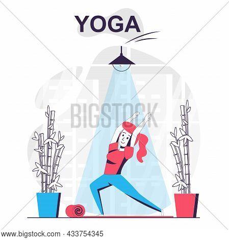 Yoga Training Isolated Cartoon Concept. Woman Practicing Asana, Doing Balance Exercises, People Scen