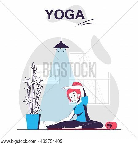 Yoga Training Isolated Cartoon Concept. Woman Doing Exercises And Practicing Asanas At Gym, People S