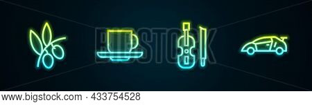 Set Line Olives Branch, Coffee Cup, Violin And Sport Racing Car. Glowing Neon Icon. Vector